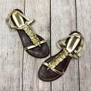 Steve Madden | Gold Ruffle Sandals